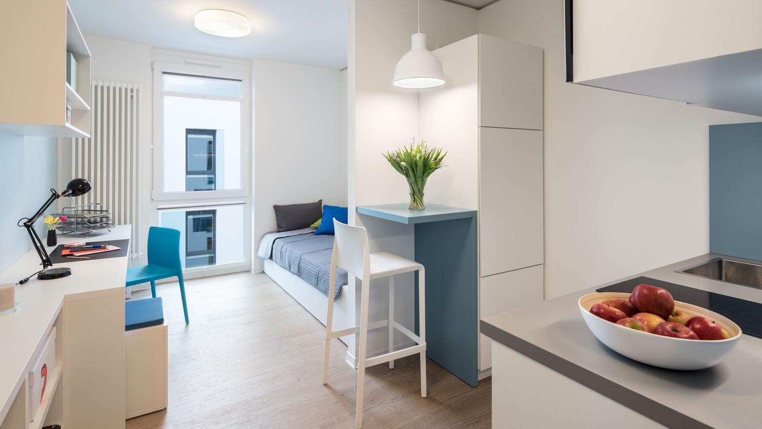 Student apartment with balcony in the Quartillion Cologne