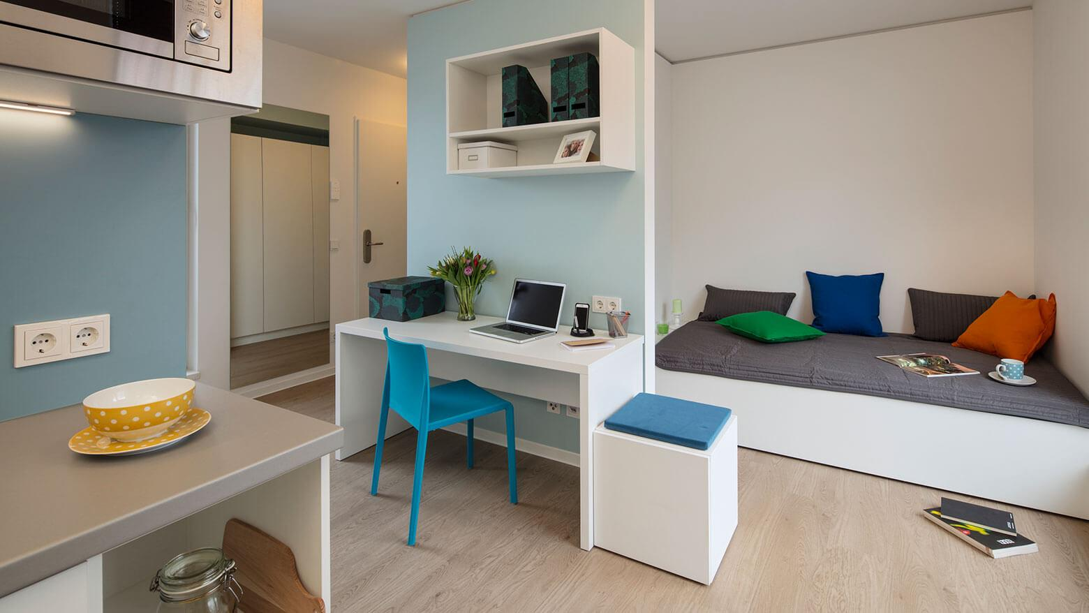 Stundenten apartment with kitchen in the Quartillion Cologne